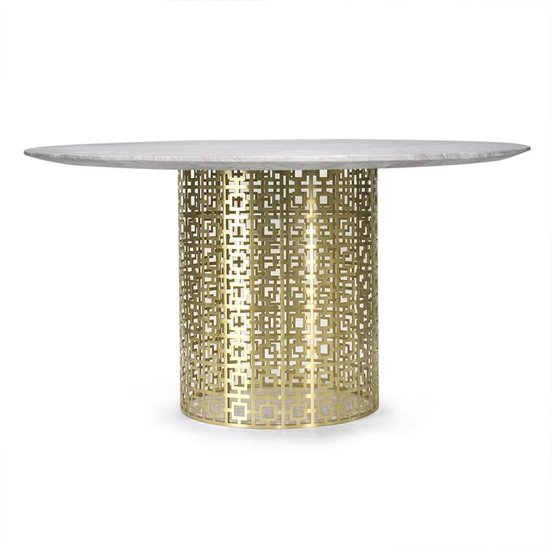 时尚个性创意网状形脚餐椅茶几Nixon Dining Table 轻奢凤  尼克松餐桌咖啡桌 金色不锈钢餐台
