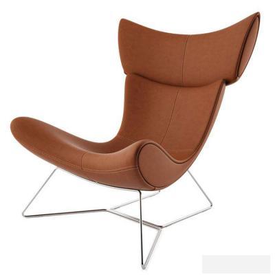 现代简约玻璃钢弯背椅 黄色皮质方脚 躺椅易默拉模特椅Henrik Pedersen设计 地产样品房 家用商用家具设计