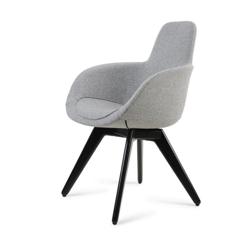 现代轻奢设计师单人休闲椅北欧时尚皮布艺拼接客厅酒店接待靠背椅