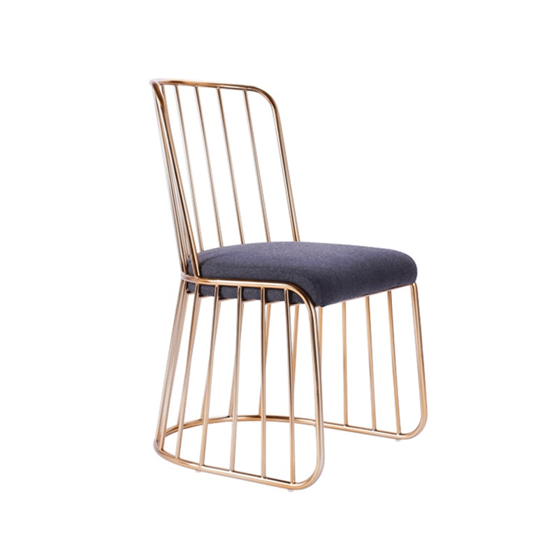 北欧简约家用金色铁艺餐椅休闲餐厅布艺咖啡厅酒吧吧台椅成人凳子
