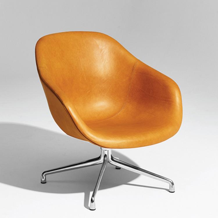 丹麦HAY旋转椅AAL81北欧休闲皮椅现代简约设计办公会客靠背椅