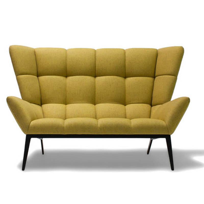 设计师北欧简约金属布艺沙发方块肌肉稻壳椅酒店沙发接待洽谈沙发