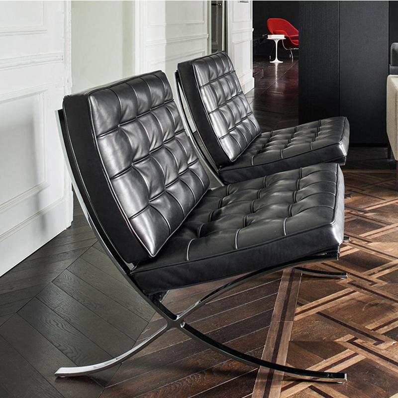 办公真皮沙发椅巴塞罗那不锈钢椅子 洽谈椅现代简约接待椅 休闲会客单人沙发