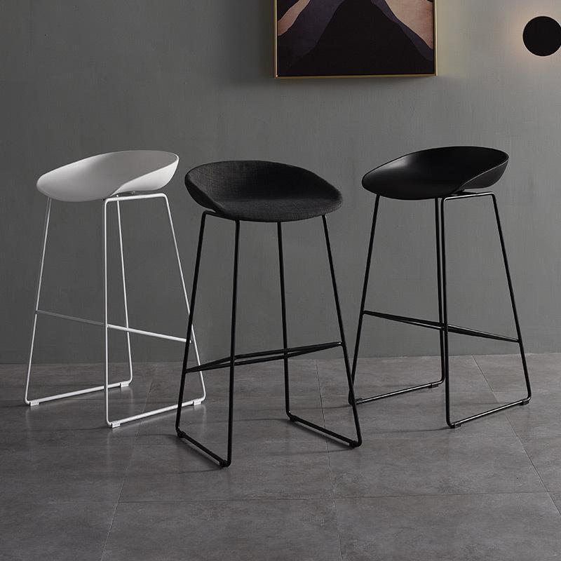 北欧铁艺吧椅创意高脚吧椅咖啡厅前台高脚凳酒吧椅简约时尚办公凳
