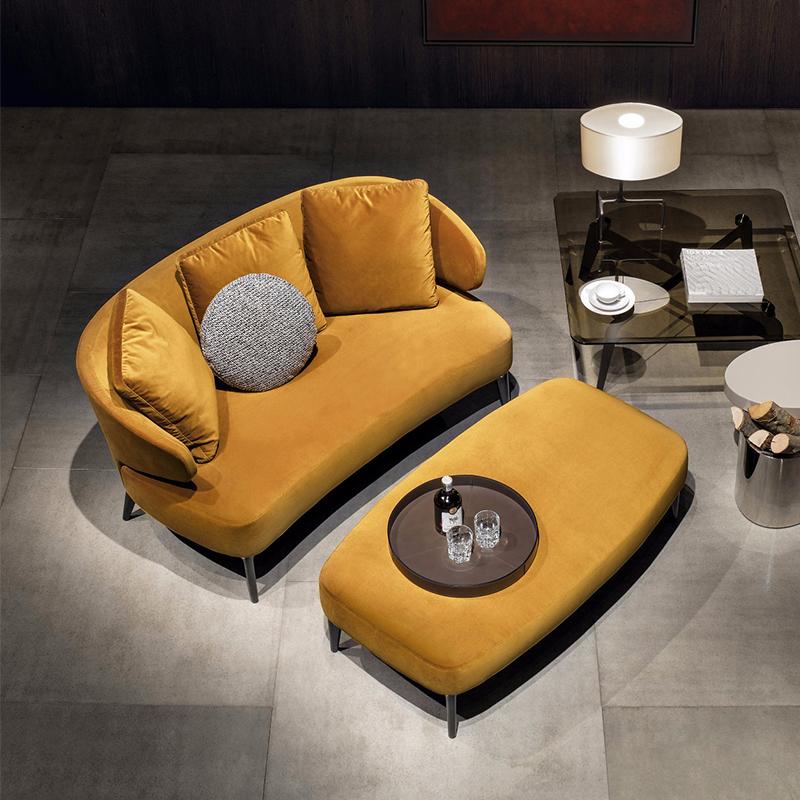 简艺北欧简约风格设计师新款沙发布艺实木脚沙发现代卧室客厅沙发