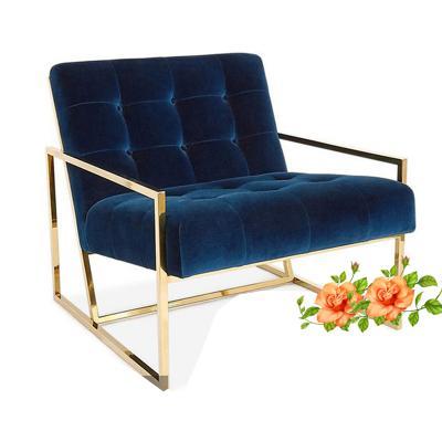 北欧时尚香槟金不锈钢金属单人沙发椅靠背椅卧室书椅客厅休闲椅