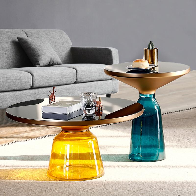 玻璃茶几北欧简约现代创意小茶几圆形茶几轻奢小户型边几客厅组合