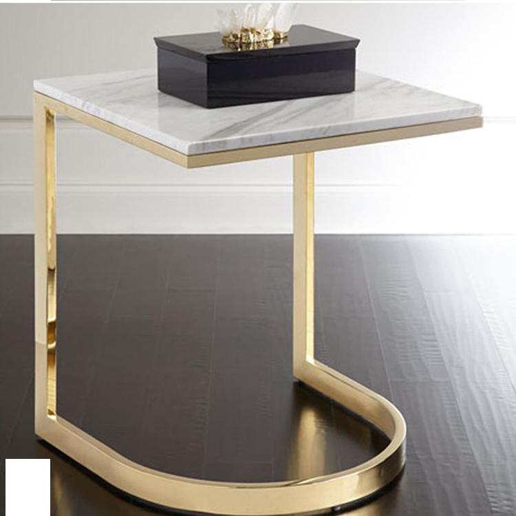 现代简约不锈钢金色亮光烤漆沙发边几角几酒店样板房小茶几