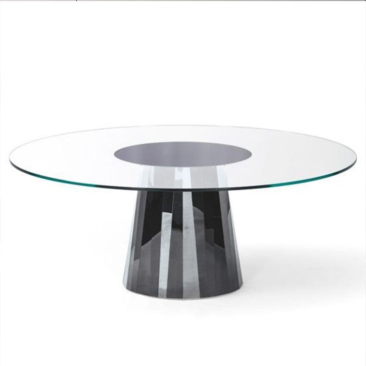 现代简约椭圆形设计师新款餐桌北欧创意不锈钢天然大理石餐台定制