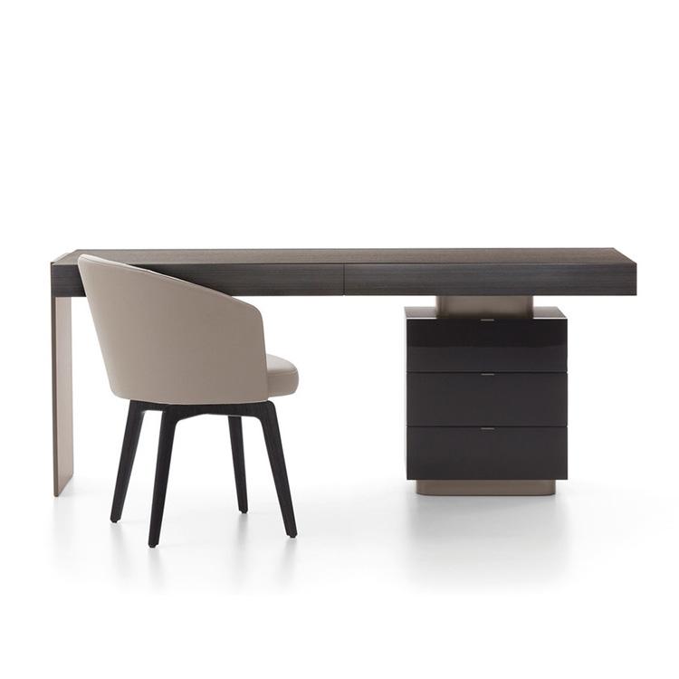 北欧现代简约轻奢不锈钢电镀 特色高档橡木古铜金属 写字桌电脑桌 书桌办公桌子