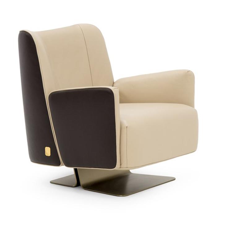 北欧单人皮布沙发椅简约客厅书房主卧样板间高靠背懒人椅