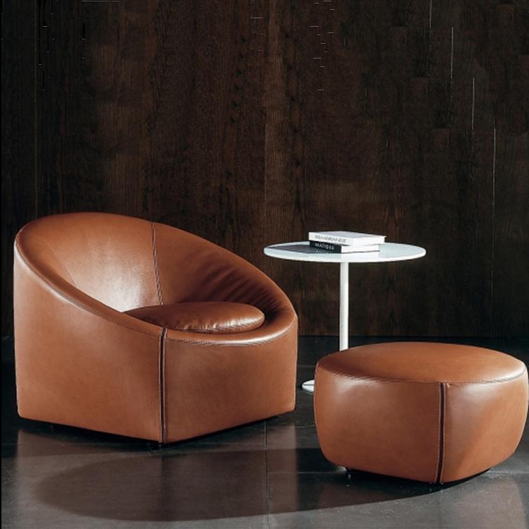 欧式小奢华圆形沙发围椅布艺丝绒典雅灰色设计师推荐美式阳台单椅