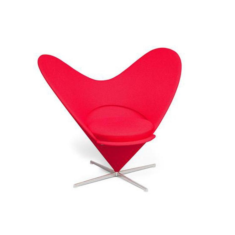 爱心锥形椅北欧简约创意心形玻璃钢布绒懒人休闲沙发椅