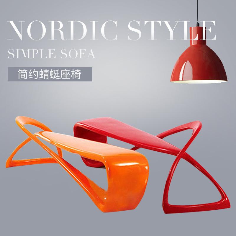 玻璃钢蜻蜓椅户外商场时尚曲线造型多人座椅美陈异形娱乐休息长椅