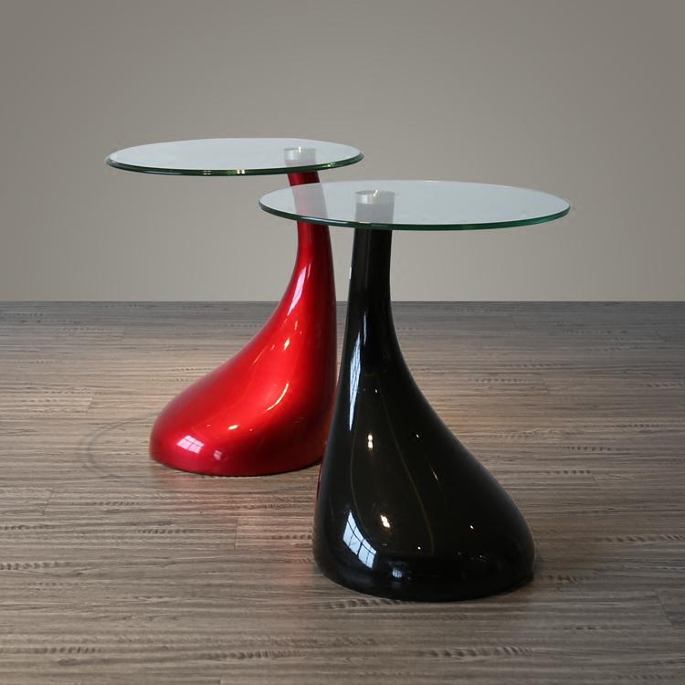 丹麦小户型创意设计师现代时尚欧式圆形烤漆玻璃蘑菇雨滴茶几