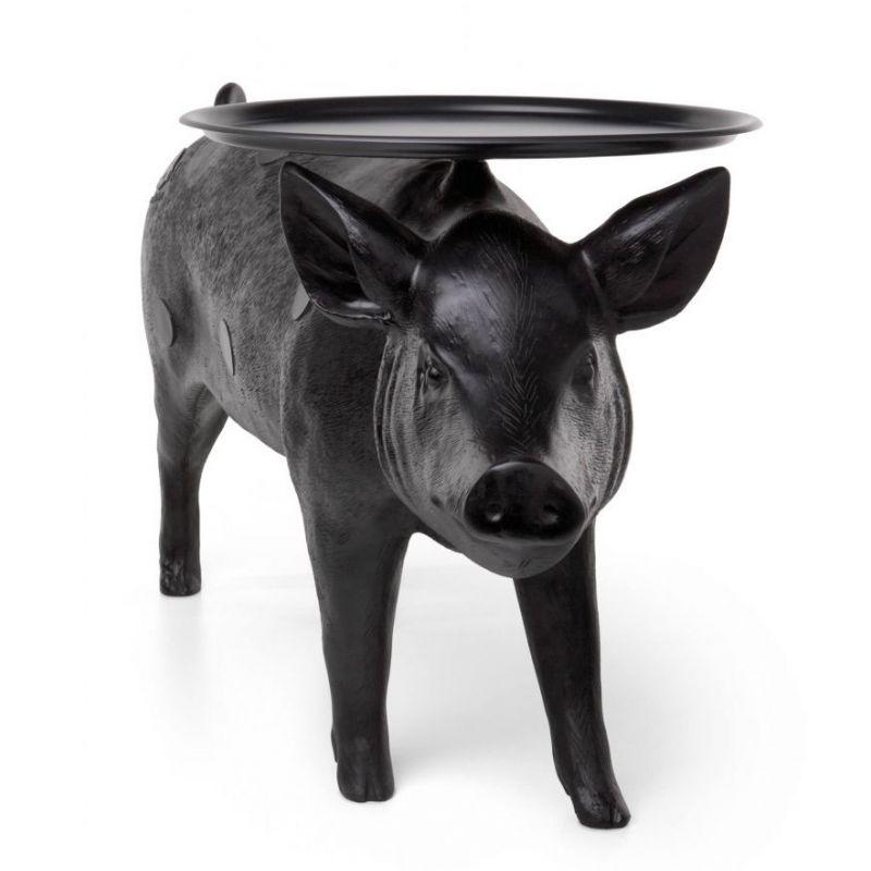 爆款玻璃钢黑色亮光猪猪茶几艺术雕塑摆件时尚茶几酒店拍摄美背景