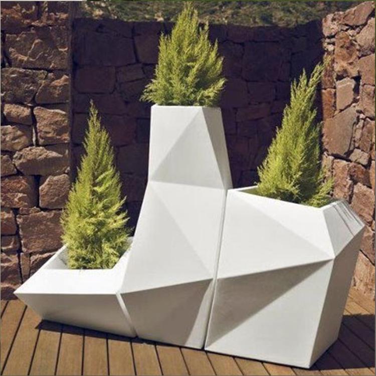 植花瓶 万象个性玻璃钢花盆 园艺三件套装饰设备 成品花桶