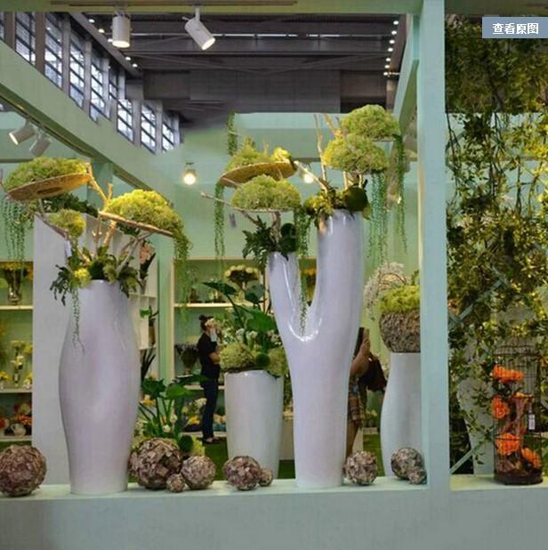 玻璃钢异形树干形花瓶 酒店 别墅 大厅 展台