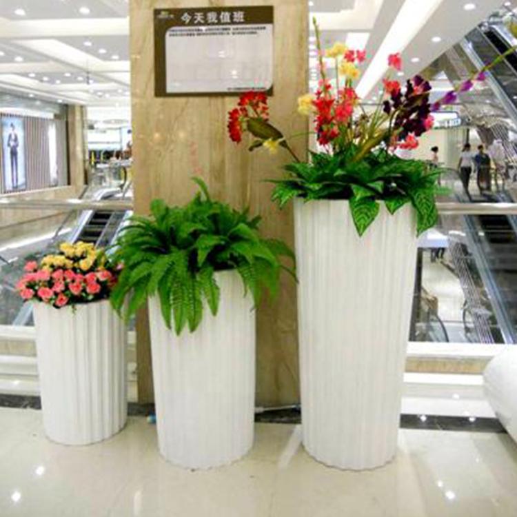 时尚玻璃钢花盆 商场大厅购物中心公共休闲区玻璃钢花瓶美陈雕塑