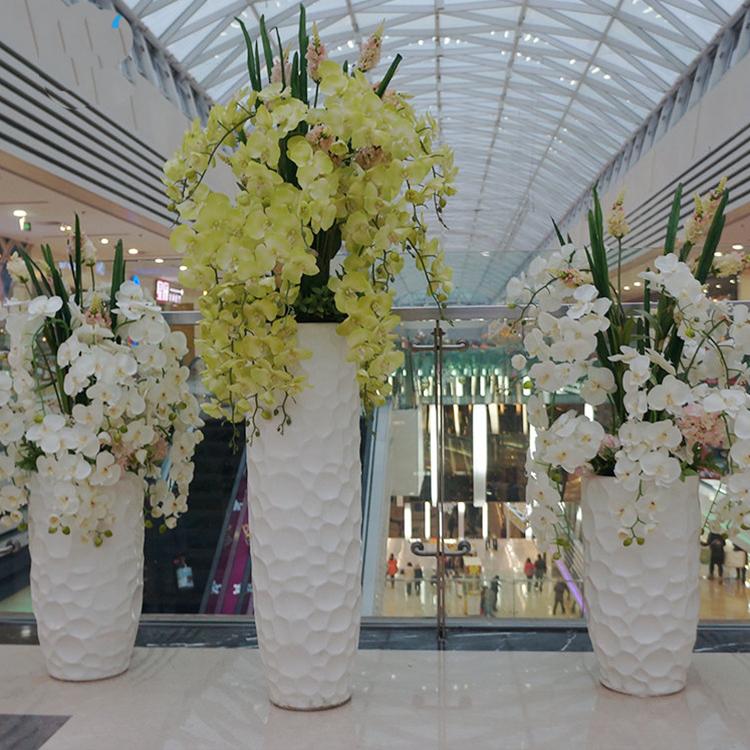 玻璃钢创意美陈花盆组合北欧简约商场装饰落地花器写字楼会所花瓶