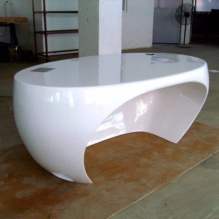 创意玻璃钢公司办公前台接待异形烤漆书桌咨询吧台收银台迎宾台