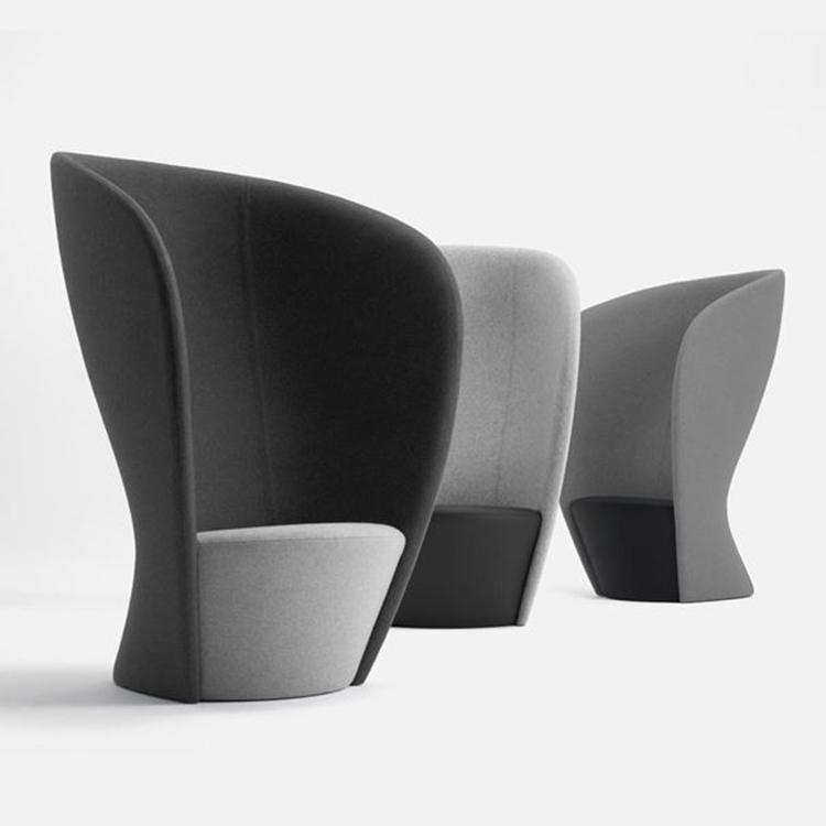 大师设计高背椅酒店玻璃钢家具无扶手靠背椅创意咖啡椅布艺沙发
