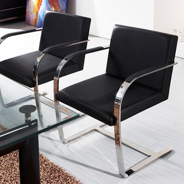 现代简约家具 不锈钢家用会客接待行政沙发椅 靠背扶手单人休闲椅餐椅