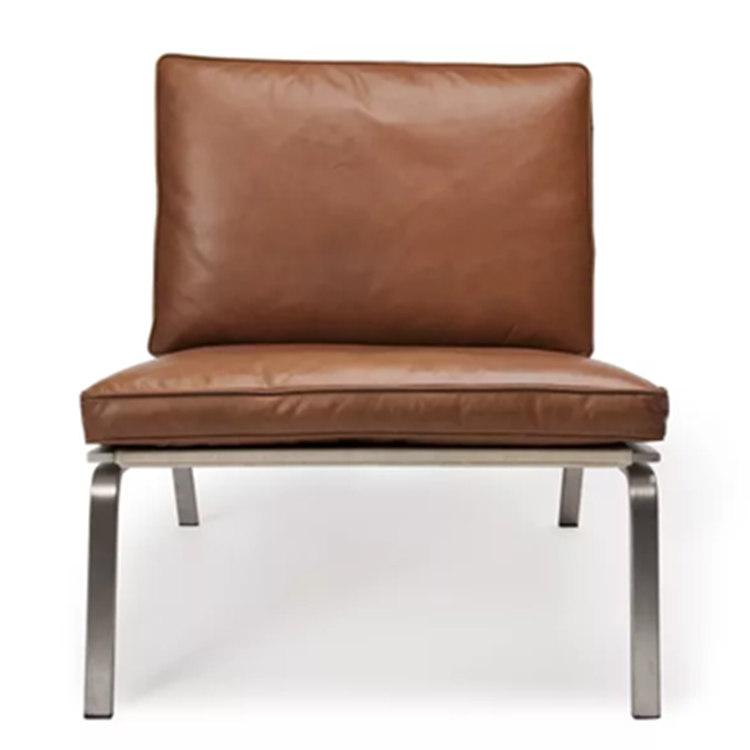 现代简约五金休闲沙发椅设计师经典创意洽谈椅极简风格单椅商务