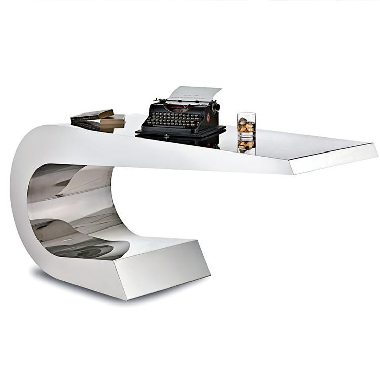 超现代造型书桌个性办公室写字台不锈钢镜面老板台