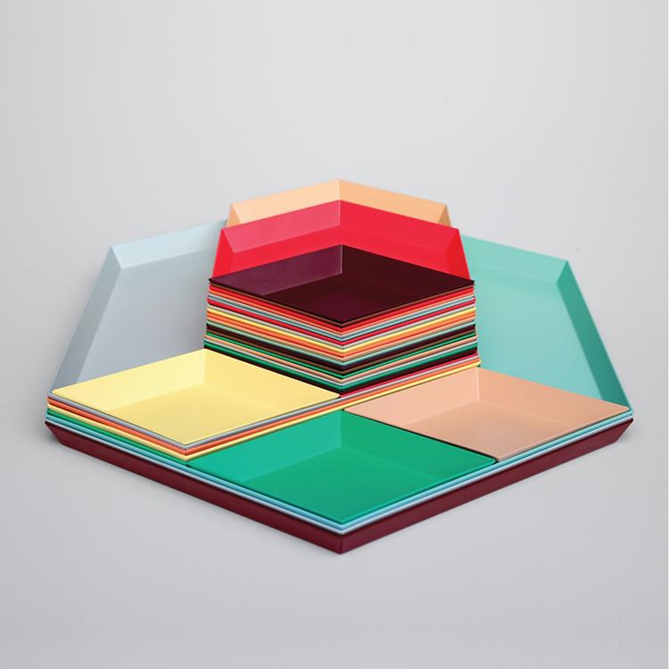 北欧多边形桌面组合首饰收纳托盘金属托盘几何组合金属收纳盘果盘