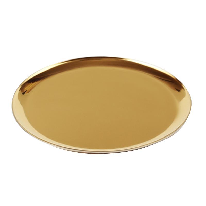 北欧ins风格金属圆形托盘金色收纳圆盘 彩虹色置物水果茶盘铜色