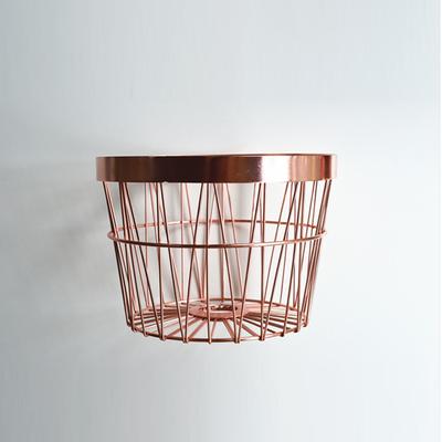 新品北欧极简风格几何纹铁艺圆形杂物筐 收纳篮果篮花篮装饰摆件