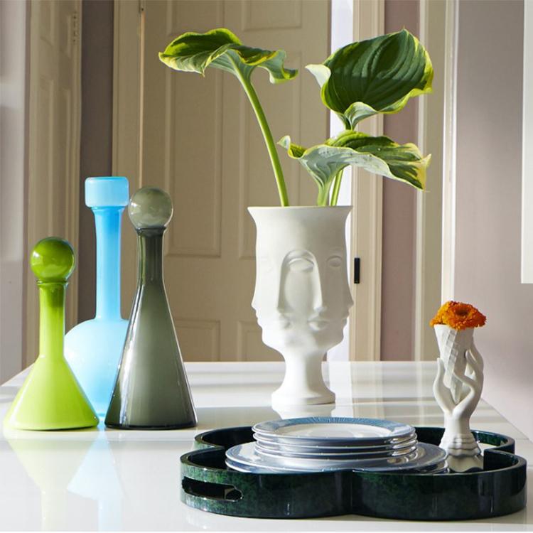 设计师品牌 立体人脸面部 纯白色瓷高脚花瓶