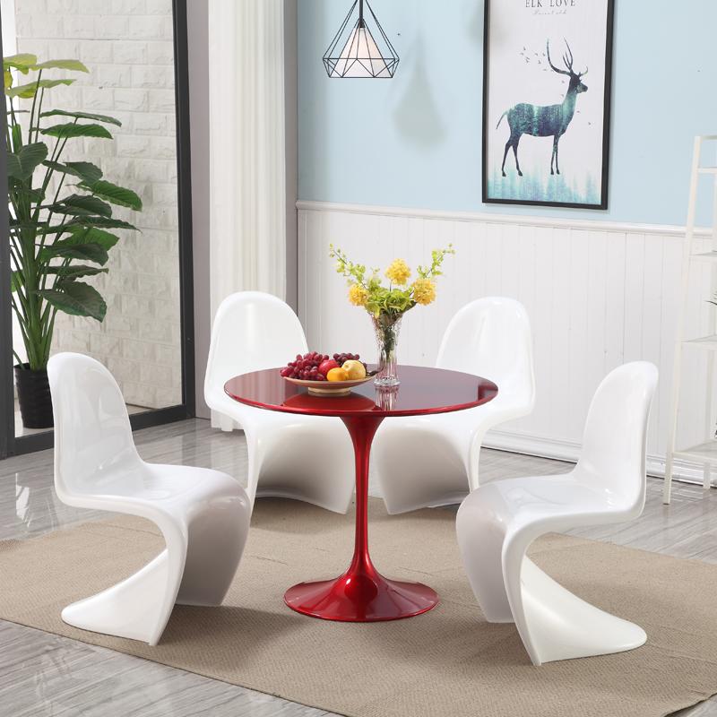 洽谈桌椅组合 会客简约现代谈判接待小圆桌椅 烤漆创意个性