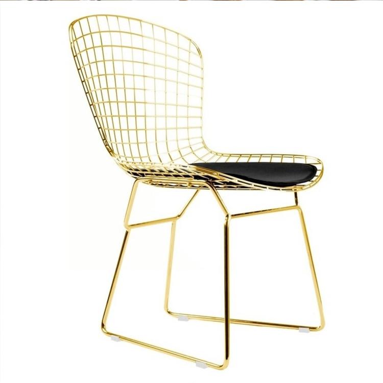 电镀椅子铁丝椅镂空椅铁艺餐椅北欧设计师休闲金属咖啡椅子