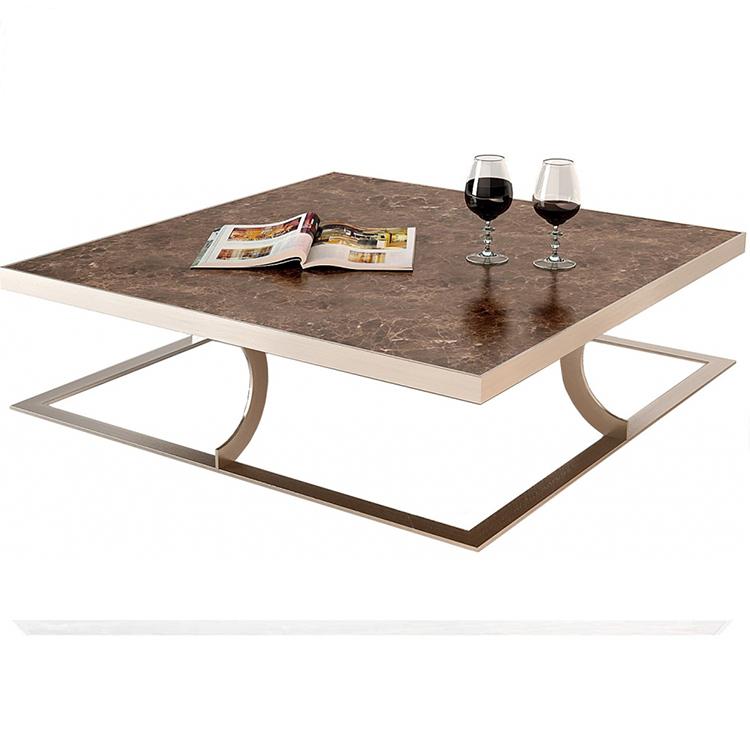 现代美式不锈钢方茶几时尚简约大理石咖啡桌欧式客厅边几角几定制