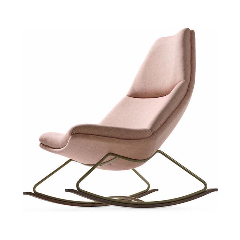 北欧单人懒人沙发阳台休闲椅极简创意卧室酒店粉红色铁腿布艺躺椅
