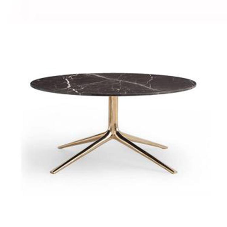 北欧金色茶几设计师创意大理石圆几方几 轻奢样板间客厅茶桌组合