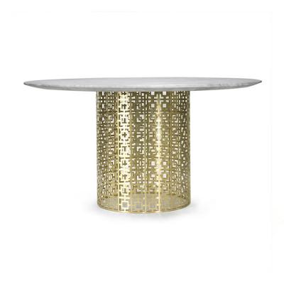 轻奢现代不锈钢圆型餐桌北欧金属脚大理石面圆桌创意实木桌面餐桌