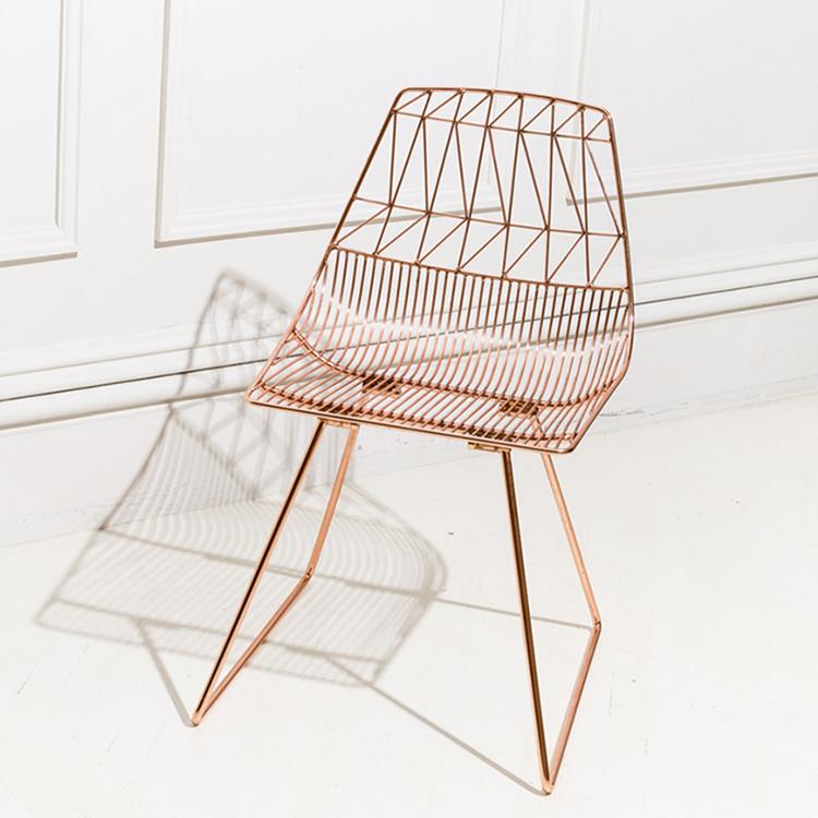 露西椅 金属餐椅 镂空铁线椅 设计师椅子 玫瑰金椅子