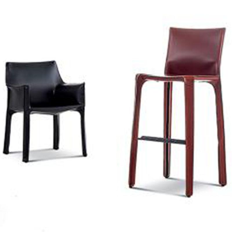 吧椅设计师时尚硬皮吧椅吧凳咖啡厅甜品店靠背高脚椅酒吧椅
