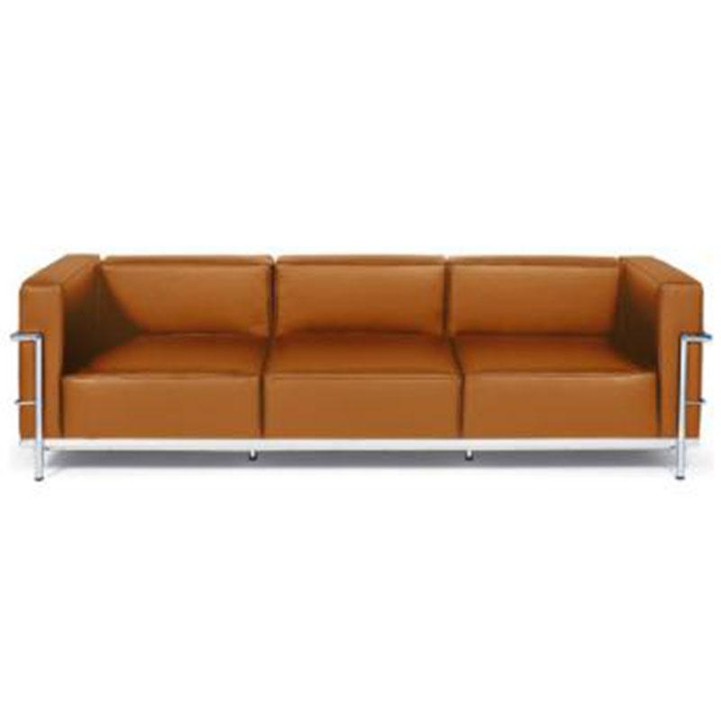 现代轻奢主义皮革沙发客厅不锈钢框架皮沙发三人办公室沙发写字楼