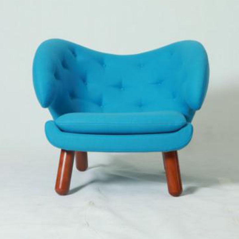 沙发椅子单人围椅羊绒软包塘鹅椅实木布艺简约现代舒适家具