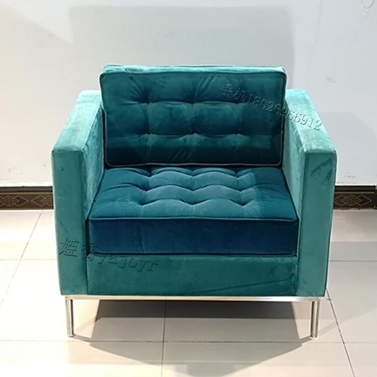 北欧客厅布艺单人位沙发现代美式简约小户型客厅会所沙发
