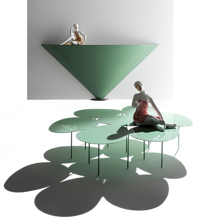 玻璃钢贴墙 玄光桌 现代简约