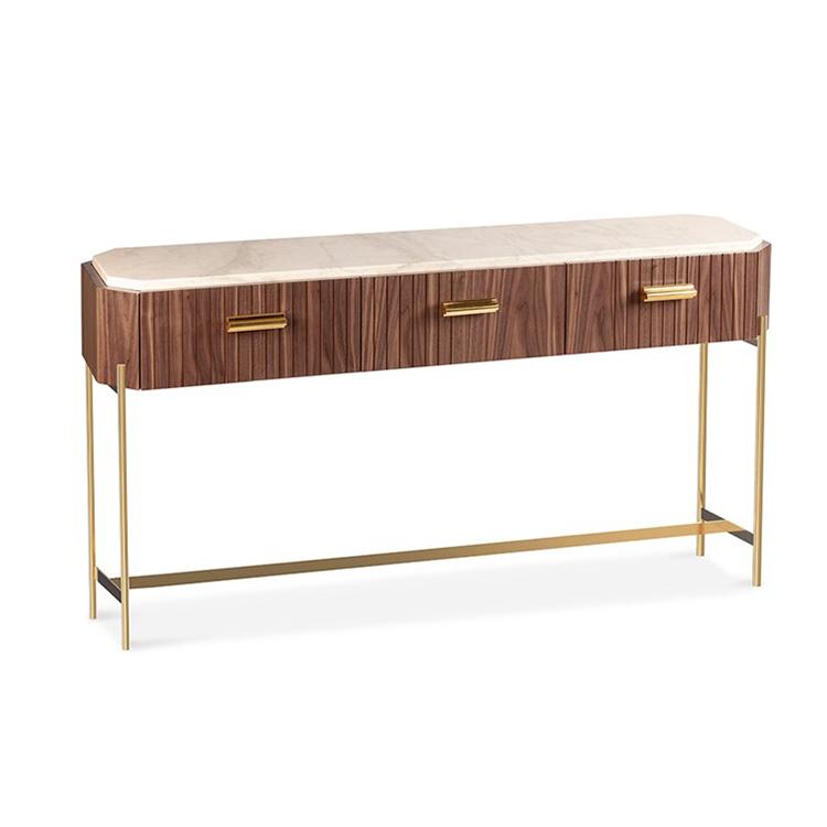 木皮和大理石控制台抽屉桌