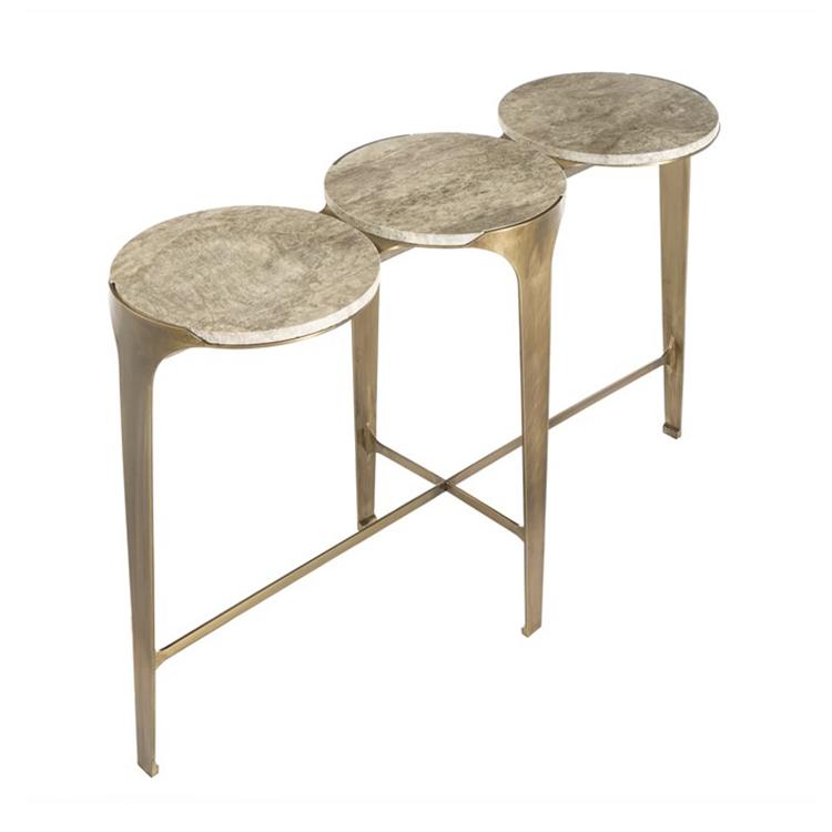 石灰华桌案黄铜玄关桌
