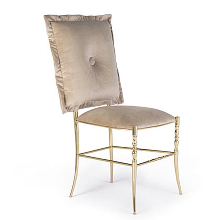 法国帝国高贵活动椅子不锈钢电镀黄铜绒布布艺 餐椅 用餐椅 大脸猫