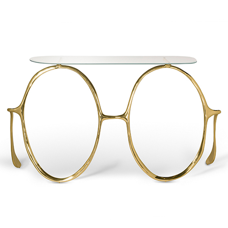不锈钢电镀黄铜 案边桌桌子 玄关桌 眼镜桌子