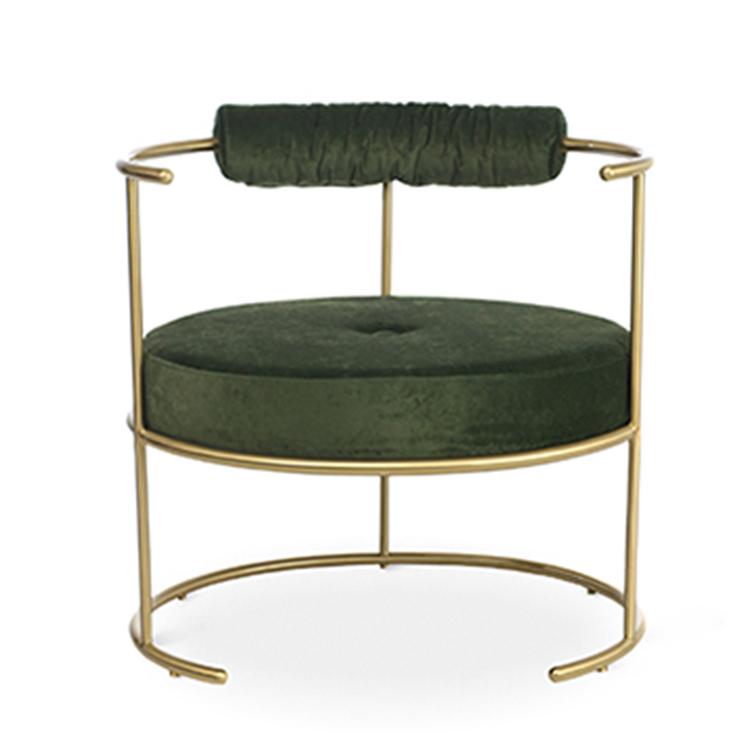 纯扶手椅不锈钢铁镀金烤漆圆圈扶手绒布餐椅化妆美容装饰椅休闲椅餐椅